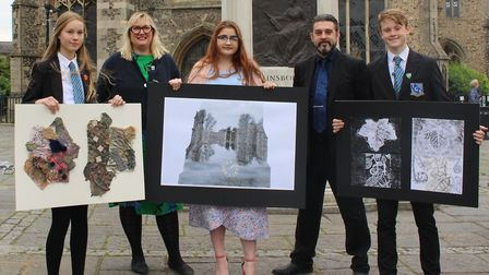 Left to right: Elodie Nicholson, Fran Raleigh (art teacher), Lydia Page-Wright, Ed Clark (head of ar