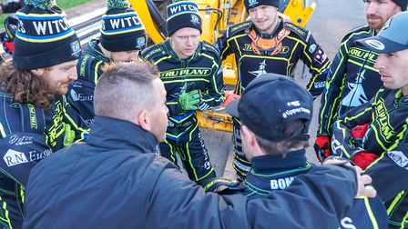 A Witches team meeting ahead of the Ipswich v Swindon meeting last time at Foxhall. Picture: Stev