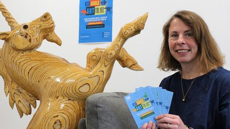 Viv Thomas, AHT events manager, launching the Saddle Up Art Trail with �Golden Unicorn� - one of the