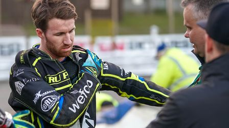 Jake Allen holds his shoulder after his heavy fall against Poole a few weeks ago. He will be out for