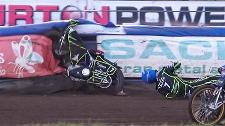 Jake Allen takes the spectacular fall that has laid him low for a while now Picture: Steve Waller