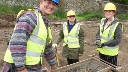Graham Manning (blue hat) from the heritage partnership with Edward Simmons and Amber Bentham at the