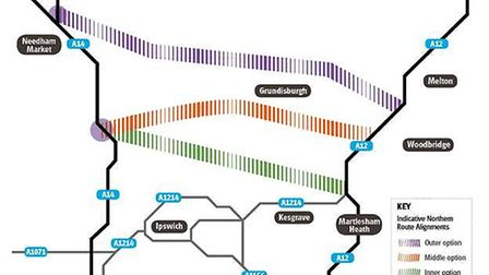 Possible routes for the northern bypass - but the proposal looks dead, or at least moribund for a ge