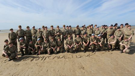 Suffolk Army cadets on Gold beach in Normandy Picture: SUFFOLK ACF