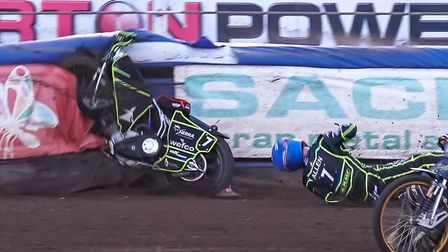 Jake Allen takes the spectacular fall that has resulted in his shoulder injury. Picture: Steve Wa