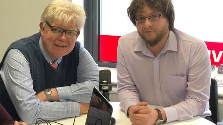 Paul Geater and Jason Noble discuss the latest on the four villages bypass. Picture: BRAD JONES