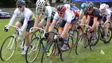 The 8K race at the West Suffolk Wheelers grass track event. From the left: Chelmsford rider Mitch Po