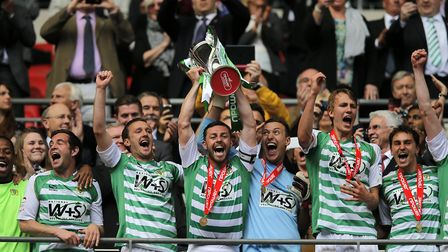 Yeovil celebrate promotion to the Championship - but they didn't stay there long. Picture: PA SPORT