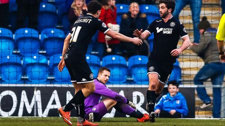 Will Grigg, right, has fired Wigan to two immeadiate bounceback promotions from League One. Picture: