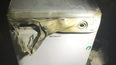 A hotpoint tumble dryer which caused a fire at Mildenhall in Suffolk. Photo: SUFFOLK COUNTY COUNCIL