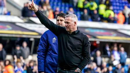 Thumbs up from Ipswich Town manager Paul Lambert to the fans, following their support after the team