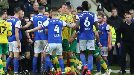 Tempers flared at Carrow Road last season. Picture: PA