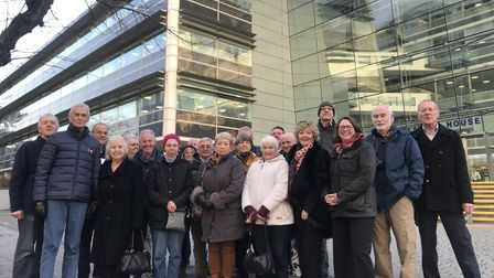 Campaigners from Long Melford outside Suffolk County Council offices in December Picture: NEIL PERRY
