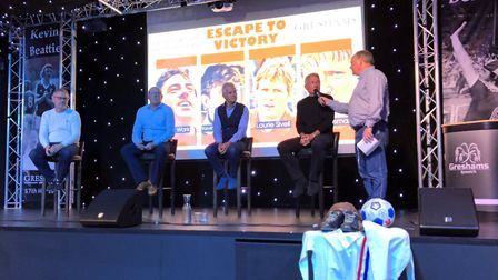 From left, Kevin O'Callaghan, John Wark, Laurie Sivell, Russell Osman and host Mark Murphy at the Es