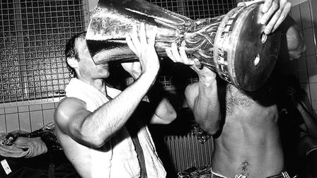 Mick Mills celebrating winning the UEFA Cup in 1981