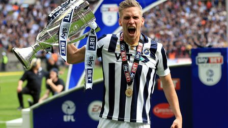 Steve Morison celebrates winning the League One Play-Off Final with Millwall. Photo: PA