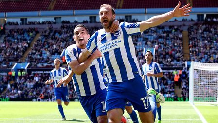 Glenn Murray (right) is enjoying an Indian summer to his career at Brighton. Photo: PA