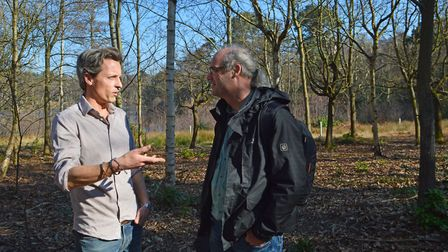 Hugh Somerleyton and grazing expert Leo Linnartz pictured on land earmarked for the re-wilding proje