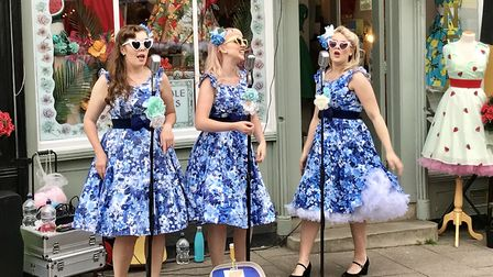 Vintage singing trio the Knightingales also performed Picture: MICHAEL STEWARD