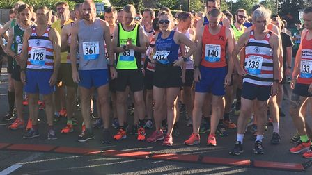 A field of more than 300 line-up for the start of the Sudbury Joggers Friday Five, last Friday eveni