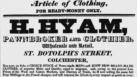 Part of one of Hyams handbills, from about 1828, offering a choice stock of ready-made clothing Pi