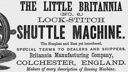 An advertisement for one of the many sewing machines made at the Britannia Manufacturing Company in