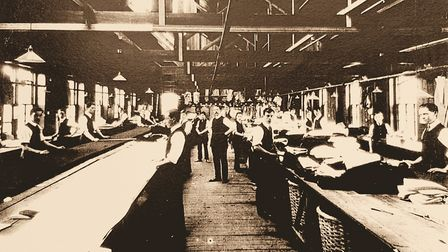 The male-dominated cutting room at Hollingtons factory in Colchester, in about 1910 Picture: Amber