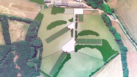 An aerial artist's impression showing the layout of the three free range units a Hole Farm, Belchamp
