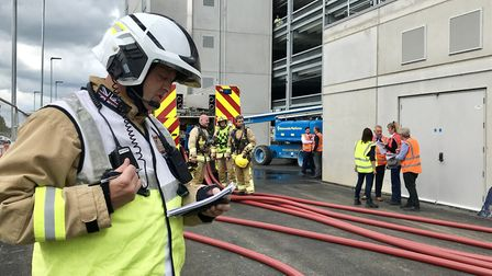 Stansted Airport staff and emergency services teamed up for a mock emergency exercise, a car fire in