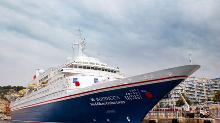 Fred. Olsen Cruise Lines Boudicca wears its poppies with pride on The Royal British Legions D-Day