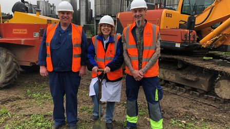 From left, Rob Farrow, Lorrie Howe and Alan Chittock at the groundbreaking ceremony at Aspall's cide