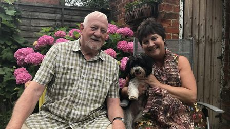 Pickles, pictured here with owners Brian and Alison Pearson, was bred on the Thurlton puppy farm Pic