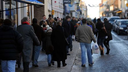 Shoppers in North Street in Sudbury. Picture: PHIL MORLEY
