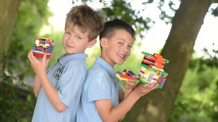 Children at Elmsett Primary School celebrate the news that they have won lots of Lego Picture: SARA