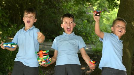 Children at Elmsett Primary School celebrate the news that they have won lots of Lego Picture: SARAH