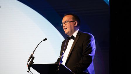 Jim Crawford of EDF Energy speaking at the Suffolk Business Awards Picture: SARAH LUCY BROWN