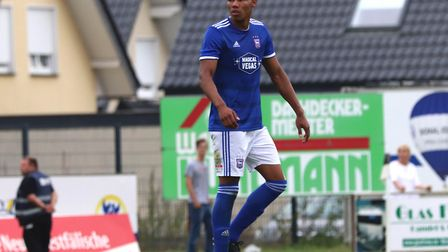Corrie Ndaba in action during the pre-season friendly against Paderborn Picture: ROSS HALLS