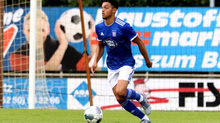 Andre Dozzell in action during this weekend's pre-season friendly against Paderborn. Picture: ROSS H