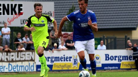 Emyr Huws in action during the Paderborn friendly Picture: ROSS HALLS