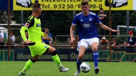 Bailey Clements in action during the pre-season game against Paderborn Picture: ROSS HALLS