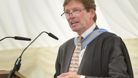 Framlingham College headmaster Paul Taylor delivers his final speech day address Picture: Max Taylo