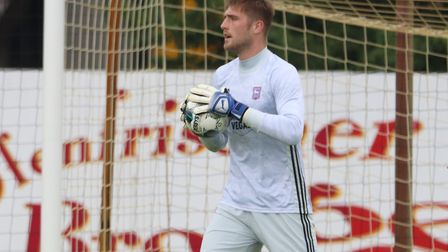 New Town goalkeeper Tomas Holy pictured in the first half against Paderborn Picture: ROSS HALLS