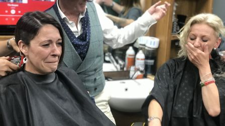 Michaela Walsh and Bev Major braved the shave today with the special help of Brian Travers from UB40