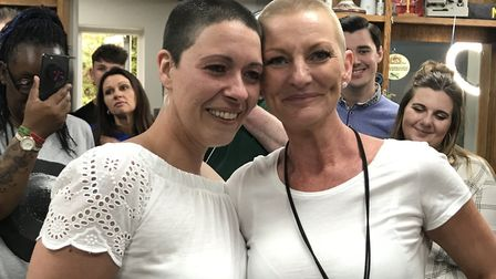 Michaela Walsh and Bev Major after braving the shave. Picture: Victoria Pertusa