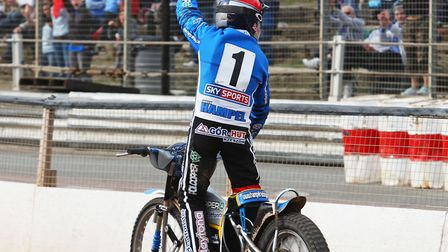 Jarek Hampel celebrates a 15 point maximum at Foxhall. The young Pole was another popular rider at F