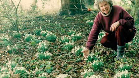 Pat in the grounds of the Manor, with snowdrops Picture: FAMILY COLLECTION