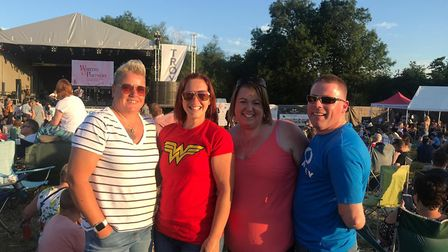 Melissa Claydon won free tickets for this year's Bardfest. She is pictured with friends Kerry and Ka