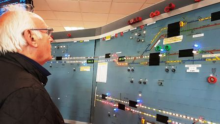 Pete Waterman in Colchester Signal Box. Picture; GREATER ANGLIA