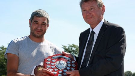 Tiptree's annual strawberry race's fastest picker Nicolae Petrechivta with Walter Scott Picture: D