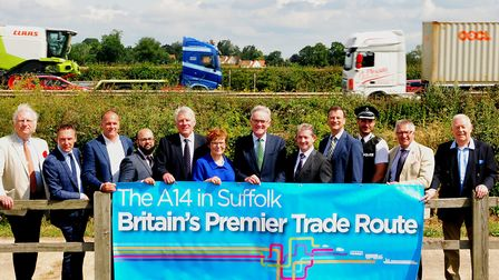 Campaigners supporting improvements to the A14 in Suffolk support Mary Evans and Mark Pendlington ne